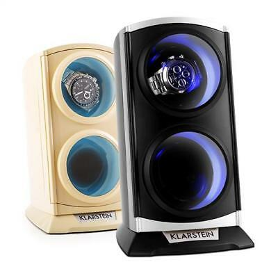 Watch Winder Box Automatic Rotating 3 Modes 2 Wrist Watches LED Light 2 Colours