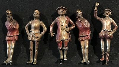 Fine C.1900 Antique Austrian Group Of Five Metal Figures - Knights