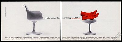 1959 Eero Saarinen Pedestal chair & ottoman photo Adler socks vintage print ad