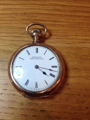 Antique Gold Plated fob Dress pocket watch By Gowland Of Sunderland Working