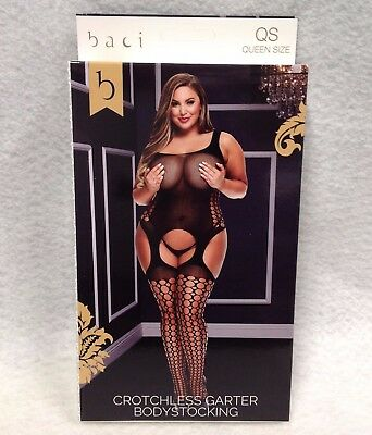Baci Crotchless Garter Bodystocking Black Queen QS Plus Size 14-18 Lingerie 5012