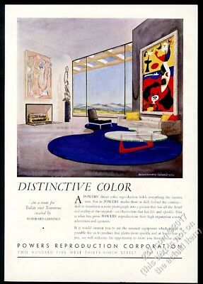 1942 Robsjohn Gibbings modern sofa chair living room art Powers vintage print ad