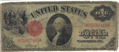 1917 $1 Dollar United States Note Banknote Bill Money Cash Washington One Wwi