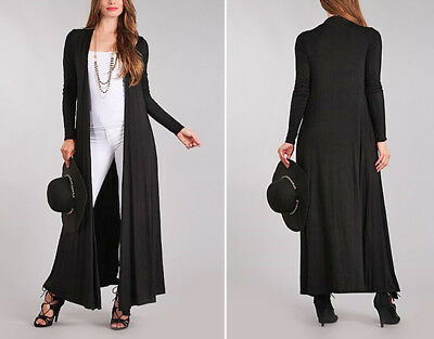 Floor Length Cardigan Duster Sweater w/ Pockets Open Front Casual Knit Loose