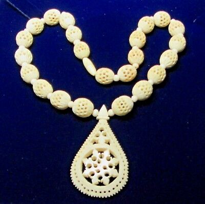 Victorian Natural Grained Bovine Pierced  Necklace 25.inches