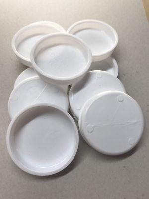"CHEAP! 48 Plastic spare End Caps Postal Tube White  2"" inch / 51 mm / 5 cm wide"
