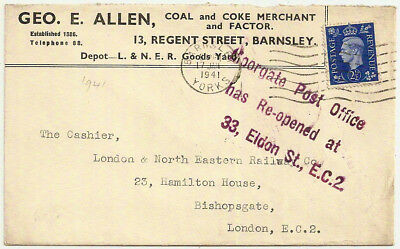 1941 GB DAMAGED BY ENEMY ACTION WW2 KGVI 2½d MOORGATE POST OFFICE REOPENED ENV
