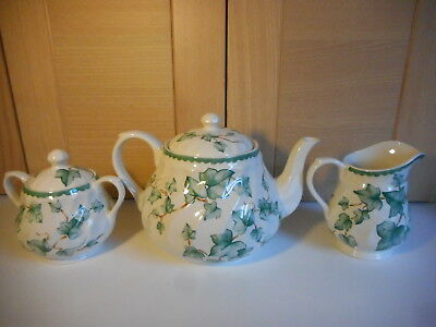 Bhs Country Vine Green Ivy Leaves Teapot Milk Jug And Sugar Bowl