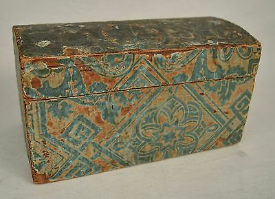 Wallpaper Box Domed Chest Turquoise Tan Newspaper Lining 1840s Box Antique