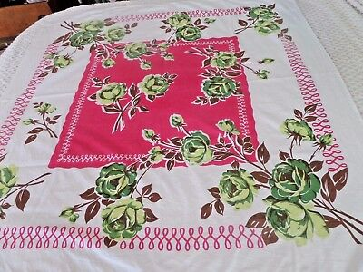 Vtg Pink & Green Cabbage Roses Tablecloth 50 x 52""