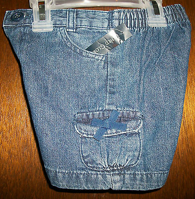Girls Cargo Shorts sz 24mos FADED GLORY Beautiful Blue Denim NWT