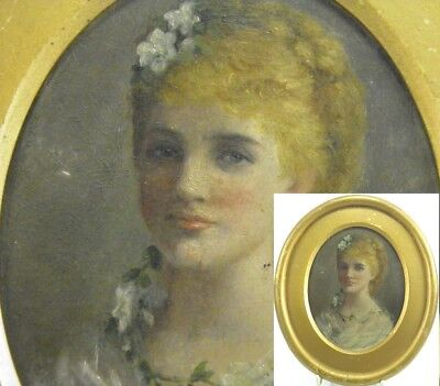 Antique 19th century English School oil painting on panel portrait lady bride