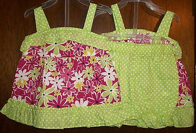Girls Short Set sz 6-9 mos PARK BENCH KIDS Floral&Green Ruffled Top&Bloomers NWT