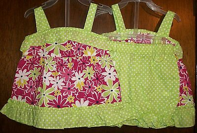 Girls Short Set sz 12 mos PARK BENCH KIDS Floral&Green Ruffled Top&Bloomers NWT