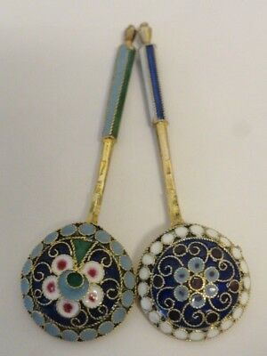 Pair of antique Russian silver cloisonne enamel salt spoons. 2.1 inches each