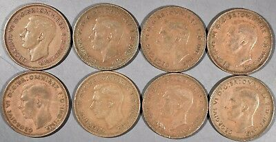 UK GREAT BRITAIN 1937-1948 Large PENNY Coins (10) George VI KM84 Gr XF-AU A4112