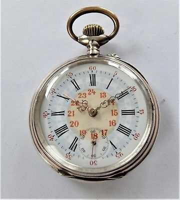 1895 Silver & Gold Cased Cylinder Pocket Watch In Working Order