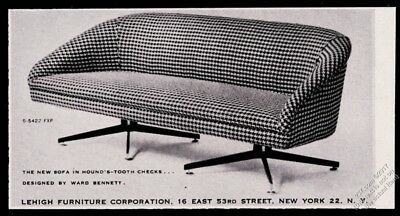 1958 Ward Bennett modern houndstooth sofa photo Lehigh Furniture vintage ad