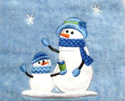 CHRISTMAS Bath Blue Velour One Hand Towel (1) with Snow Lady Child & Snowflakes