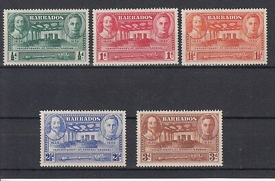 Barbados: 1939 Tercentenary General Assembly. SG257/261. Mint.Scarce&Going cheap