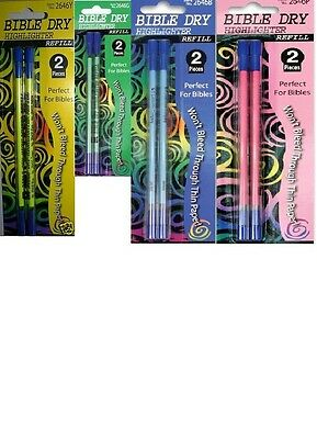 4 Pk Dry Bible Highlighter REFILLS 4 Colors 2 Each Perfect for Bibles