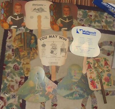 Lot of Vintage Hand Held Fans Church and Others