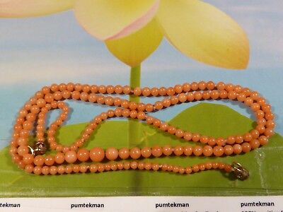 Antique European Natural Salmon Coral Bead Strand 16.5 Inch Child's Necklace