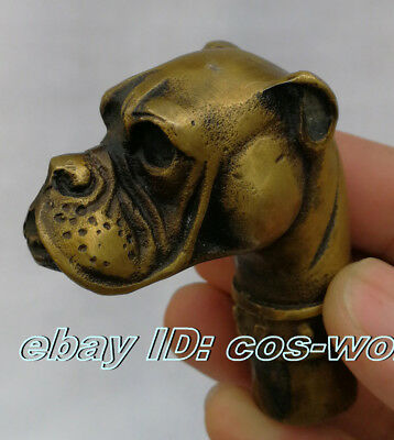 Old Bronze Hand Carved Pet dog Statue Cane Walking Stick Head