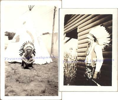 1930s Native American Indians Wearing Feather Headdress Regalia Teepee Photos