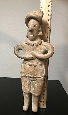 Large Pre-Columbian Colima Mexico flat Woman Gingerbread Figurine 200 BC -200 AD