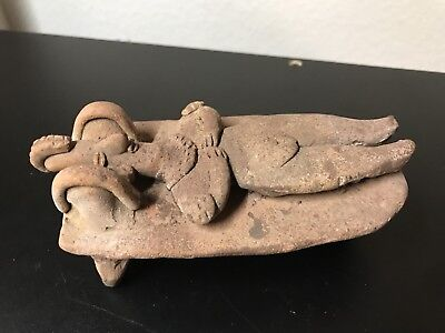 Large Pre-Columbian Colima -Mexico, Bedrest gingerbread Figure, 200BC -200AD