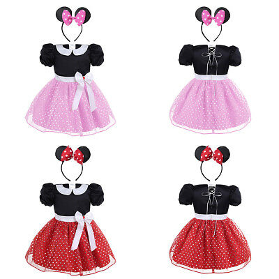 Kids Baby Girl Minnie Mouse Birthday Party Princess Costume Tutu Fancy Dress Set