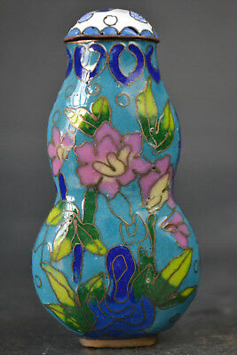 China Collectible Old cloisonne paint flower calabash beautiful Snuff Bottle