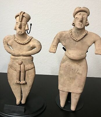 Pre-Columbian Colima Pregnant Couple! Flat Figures, West Mexico,  200 BC -200 AD