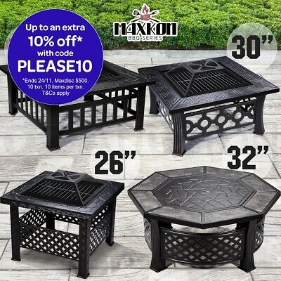 Outdoor Fire Pit BBQ Table Grill Garden Patio Heater Fireplace Brazier 4 Styles