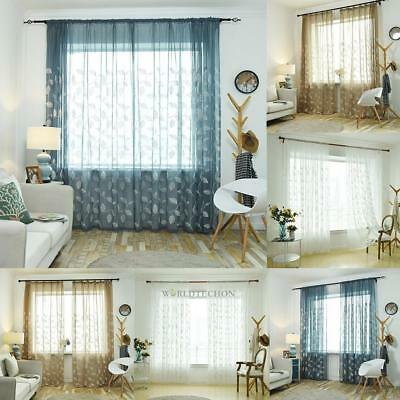 Romantic Floral Tulle Voile Window Curtain Drape Door Panel Sheer Scarf Valances