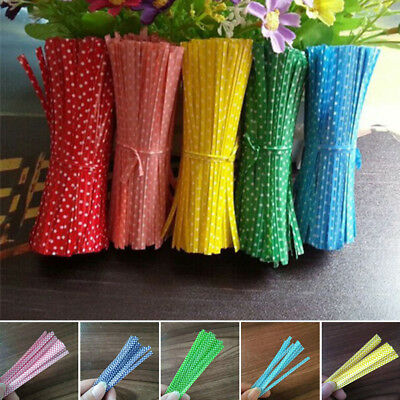 100X Lot Dots Twist Ties String Wire Cookie Candy Bag Wrapper Gift Supplies 10cm