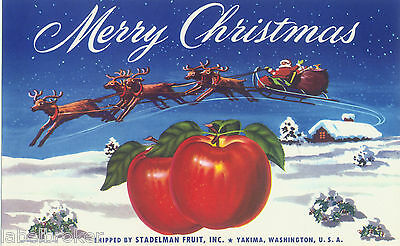 Apple Crate Label Yakima Original C1940 Merry Christmas Santa Claus Sleigh Xmas