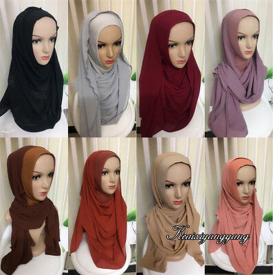 d42d3ab84e1a One Piece Hijab Ready Made Pull on Scarf Jersey Instant Chiffon Amira  islami Cap