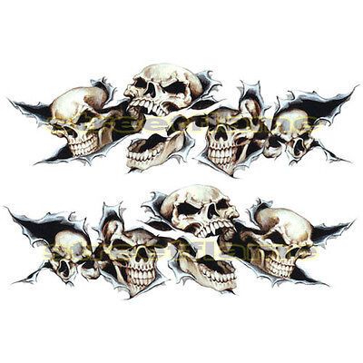 wwsShreaded Skull Set Decals Stickers MOTORCYCLES CAR snowboard  skateboard bike