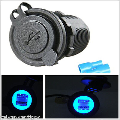 12-24V Car Marine Motor Dual USB Charger Socket Adapter Blue LED Angel Eye Pupil
