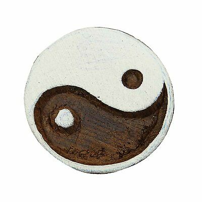 Yin Yang Round Shaped 5cm Indian Hand Carved Wooden Printing Block Stamp