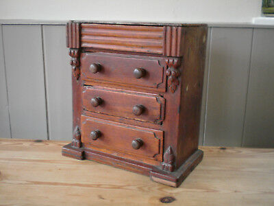 Antique Miniature Chest of Drawers Mahogany cigar boxes Tramp Art Secret drawer