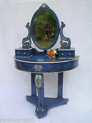 Antique Victorian 1880 Duchess Dressing Table Mirror Blue Shabby Chic Distressed