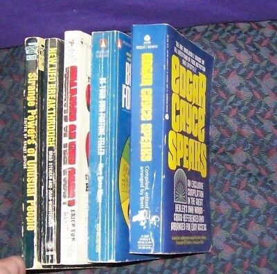 Lot of 5 paperbacks: UFOs, Prophecy, Cayce, Fortune Telling, Strange Powers