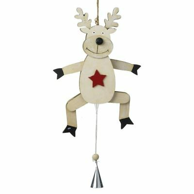 Wooden Reindeer With Pull String Moving Legs Christmas Decoration