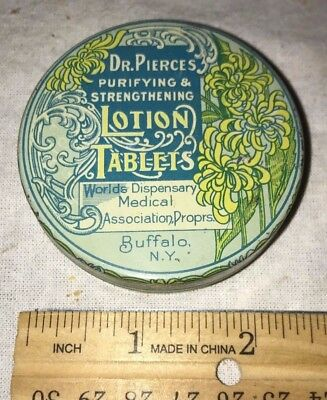 Antique Dr Pierce Lotion Tablet Skin Medicine Tin Litho Can Buffalo Ny Vintage