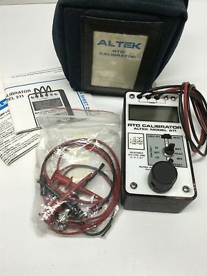 Altek Model 211 RTD Calibrator Tester, 8 Types, 3 and 4-Wire w/Carrying Case