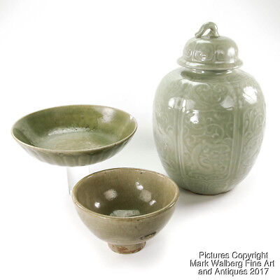 Lot of Three Celadon Glazed Porcelain Bowls and Covered Jar, 19th C. and Earlier