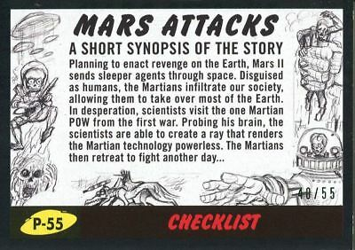 Mars Attacks The Revenge Black [55] Pencil Art Base Card P-55 Checklist